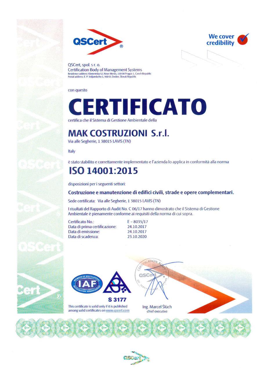 MAK Costruzioni - Certificazione ISO 14001