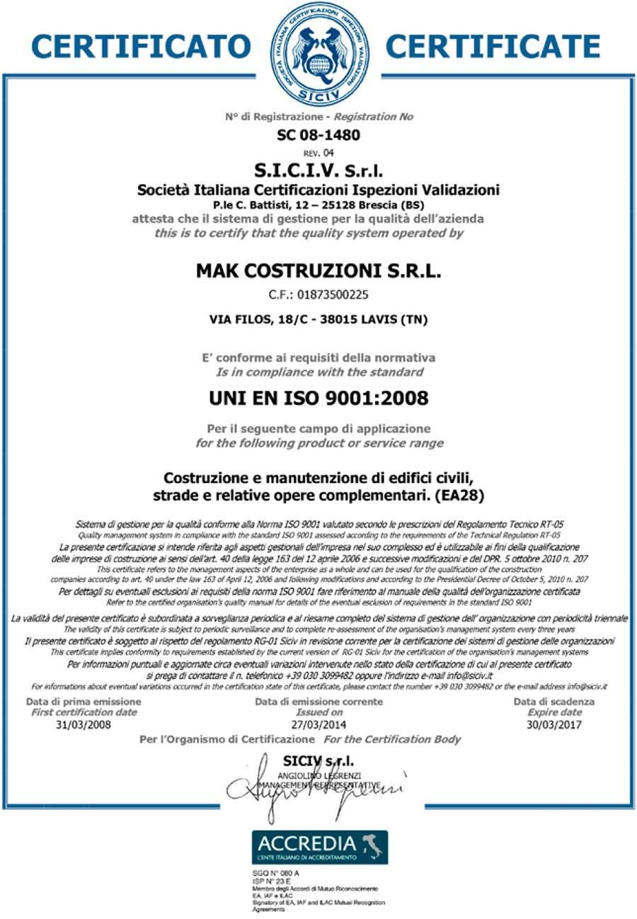 MAK Costruzioni - Certificazione Accredia