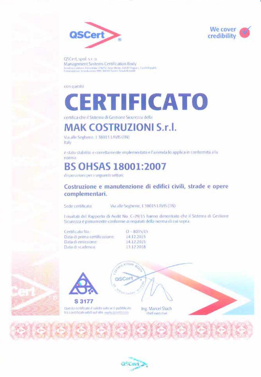 MAK Costruzioni - Certificazione QSCERT