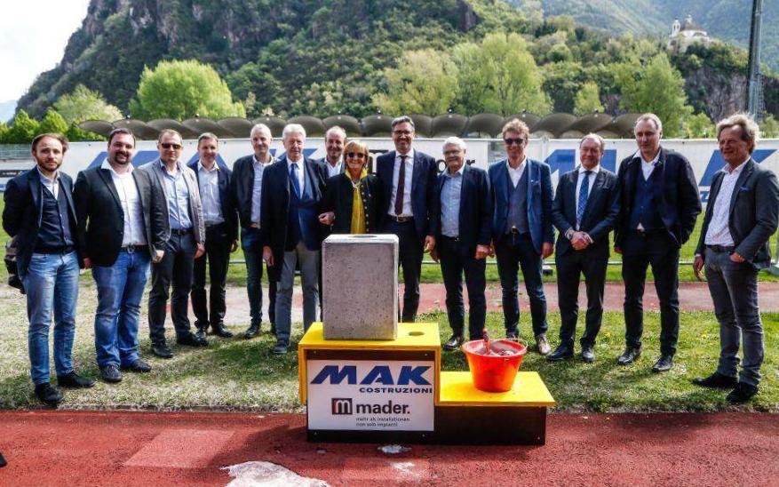 Stadio Druso: cerimonia di posa della prima pietra